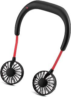 Portable Neck Fan, 3400mAh Battery Operated Hand Free Portable Neck Sports Fans, USB Rechargeable Personal Wearable Fan Pr...