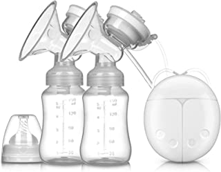 XUHUIXZI Worth Having Double Electric Breast Pumps,USB Portable Breastfeeding Pump with 2 Modes 4 Levels,BPA Free,with Lac...
