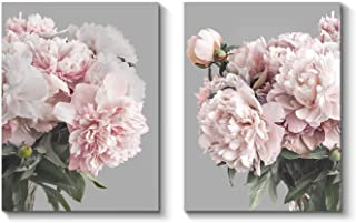 Flower Canvas Artwork Wall Art: Peony Floral Picture Print on Wrapped Canvas for Living Room (16'' x 12'' x 2 Panels)