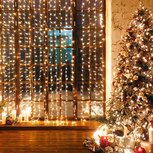 [600 LEDs] Cortina de Luces Navideña 6Mx3M Cortina Led con 9 Modos de Iluminación Luz de Cortinas IP65 Impermeable Cadena Luces para Decoración Navideña Fiestas,Bodas,Interior,Jardín - Blanco Cálido
