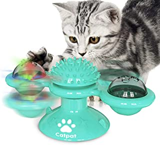 CATPAT Cat Toy - Interactive Rotating Windmill Teasing Toy Turntable with Light and Catnip Ball & Strong Suction Cup Base,...