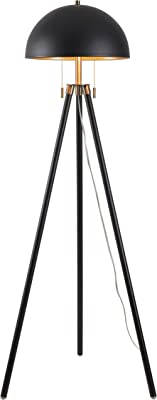 Kenroy Home 35346BL Trey Floor Lamps, Medium, Black and Antique Brass with Gold Shade Interior