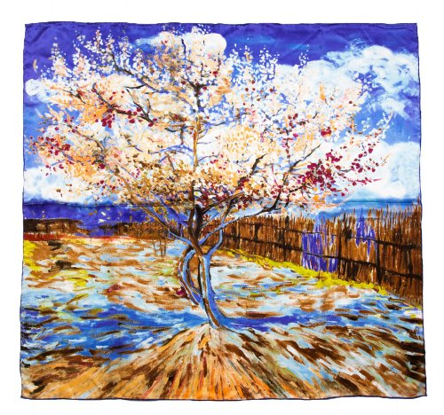 Prettystern prettystern Damen Seiden-Tuch 90cm Gemälde Printing Umschlagtuch - Van Gogh - Peach in Blossom (blau-lila) P907