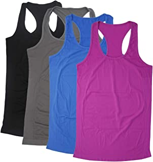 BollyQueena Women's Workout Tanks Round Neck Racerback Tank Tops 1,2,3,4 Packs