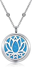 CF100 Lotus Aromatherapy Necklaces 316L Stainless Steel Essential Oil Diffuser Necklaces with Beads Chain+ 8 Pads for Wome...
