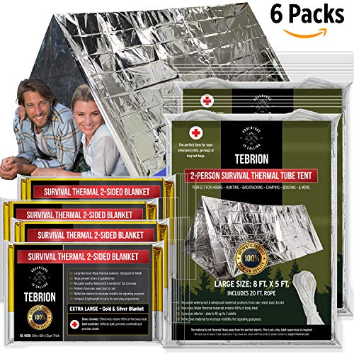 """TEBRION 2 x Emergency 2-Adult Mylar Thermal Tent and 4 x Extra Large 63""""x82"""" Mylar Blankets Set"""