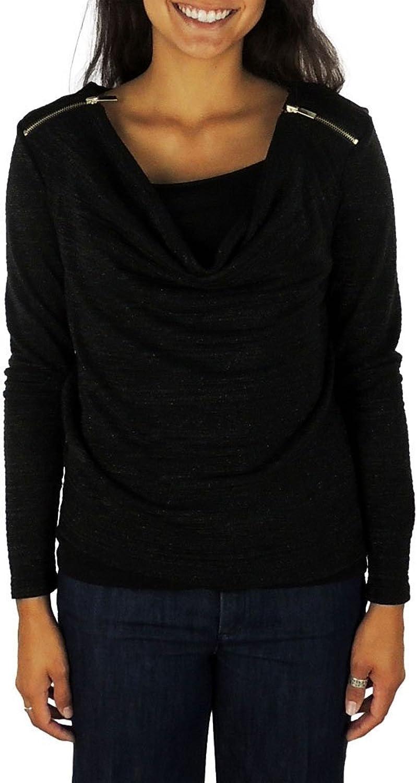 Charter Club Women's Long Sleeve Shoulder Zipper Top Medium Deep Black