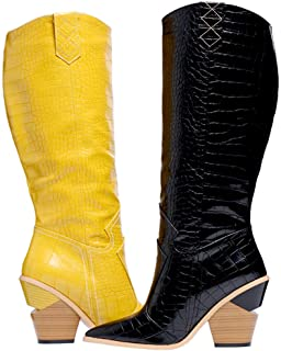 Shoe'N Tale Women's Western Cowboy Cowgirl Pointed Toe Pull-on Leather Chunky High Heel Knee High Boots