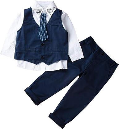 Traje Niño Conjuntos Verano 3 Piezas 1 Camisa con Corbata + 1 Chaleco +1 Pantalones Largos Ropa para Chicos Formal Traje Boda para Niño Disponible de ...