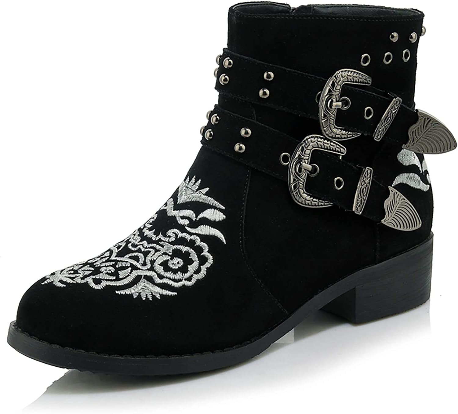 HEETIST Women's Floral Embroidery Ankle Boots with Buckle Side Zipper Chunky Block Heel Fashion Booties