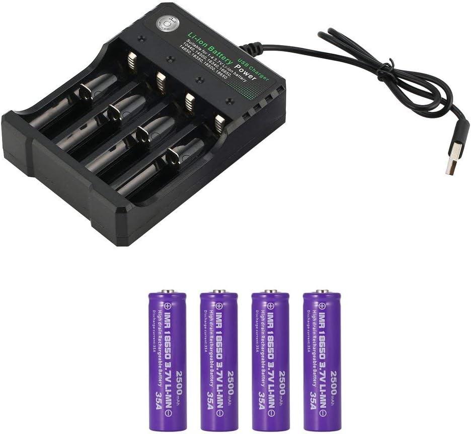 3.7V 2500Mah batería Recargable de Iones de Litio 18650 batería + Cargador 18650 Carcasa de Acero Inoxidable luz Fuerte Linterna Faro pequeño Ventilador (4 PCS)
