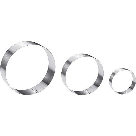 Large Round Cake Ring Set-4/6/8 Inch Biscuit Cutter Stainless Steel Circle Pancake Mold English Muffin Ring