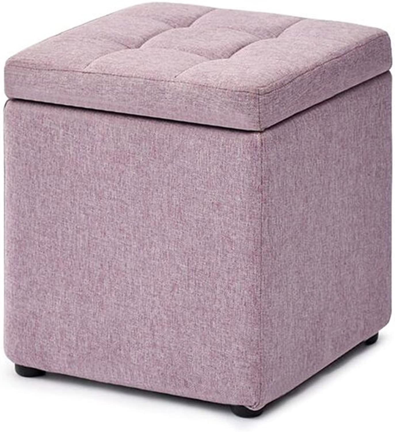 Upholstered Foot Storage Stool Living Room Sofa Dressing Change shoes Stool Foot Rest Small Chair Seat Pouf Storage Beanbag Footrest(30cmX30cmX35cm) Sturdy and Beautiful