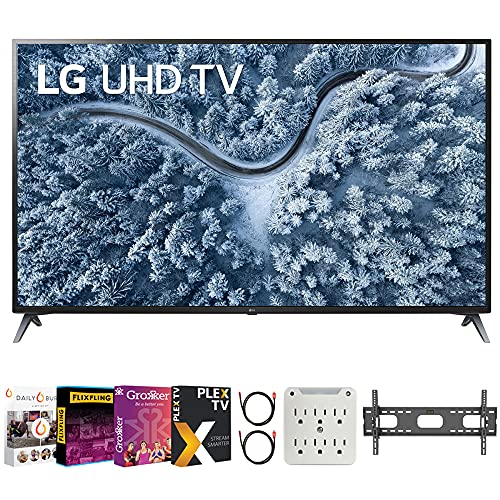 LG 70UP7070PUE 70 Inch LED 4K UHD Smart webOS TV (2021 Model) Bundle with Premiere Movies Streaming 2020 + 37-100 Inch TV Wall Mount + 6-Outlet Surge Adapter + 2X 6FT 4K HDMI 2.0 Cable