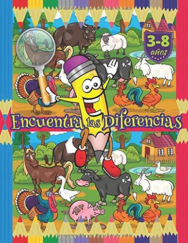 Encuentra las Diferencias: Libro actividades y juego educativo para niños 3-8 años, Con tres niveles de dificultad: Fácil, Medio y Difícil.