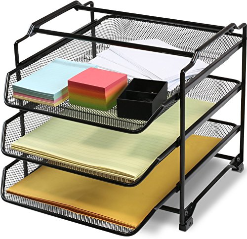 DecoBros Stackable 3 Tier Desk Document Letter Tray Organizer, Black