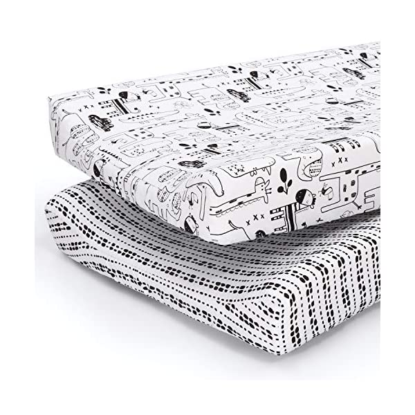 The Peanutshell Baby Changing Pad Covers for Boys or Girls | Black & White 2...