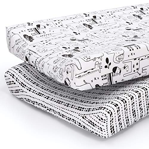 The Peanutshell Baby Changing Pad Covers for Boys or Girls | Black amp White 2 Pack Set | Zoo Animals amp Tribal Stripes