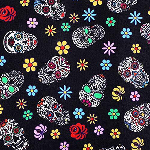 Sugar Skull Fabric 1 Yard Skull Pattern Halloween Decoration Fabric Mexican Sugar Dead Skull Fabric Halloween Theme Decorative Fabric for Home Decor Upholstery Supplies (1)