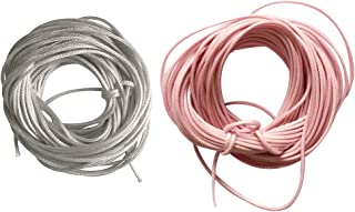 HOMYL 2 Pieces 10 Meters Waxed Nylon String Rope Cord for Jewelry Making 1.5mm Grey Pink