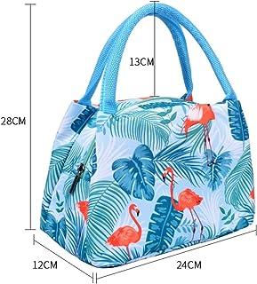 Dingfei アルミホイルの絶縁のお弁当袋が付いている携帯用絶縁袋女性の漫画の防水お弁当袋 (Color : Blue stripes)