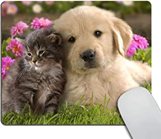Smooffly Mouse Pad Animals Cat Kitten Dog Golden Retriever Puppy Mousepad Rubber Gaming Mat 9.5 X 7.9 Inch (240mmX200mmX3mm)