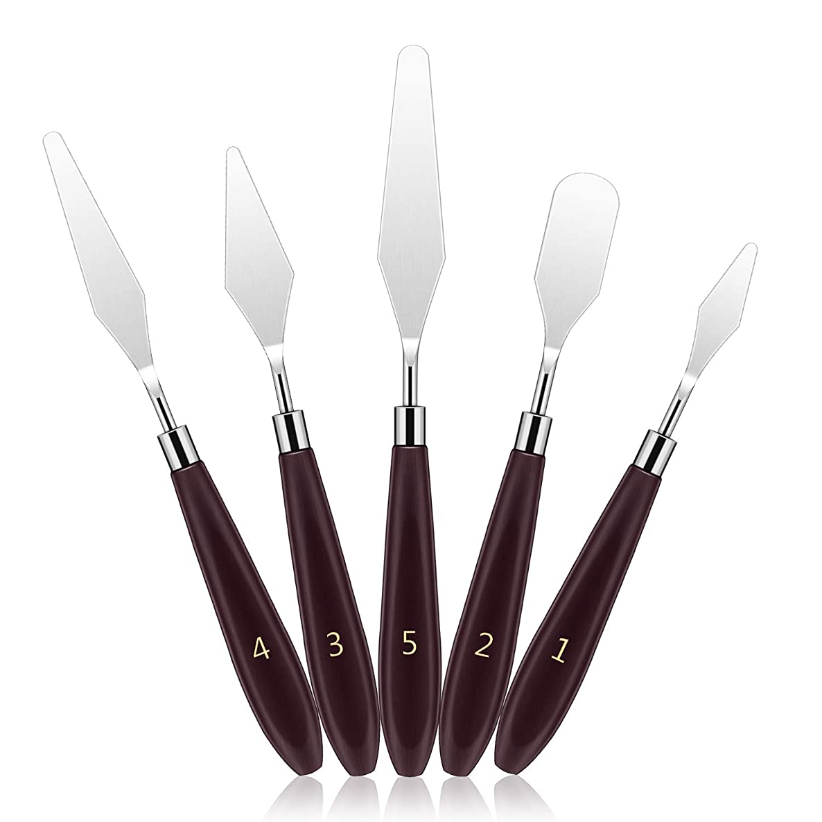 DROK 5Pcs Stainless Steel Paint Scraper, Wooden Handle Palette Painting Knife Set, Watercolor Oil Acrylic Paint Spatula, Metal Art Tools, Oil Painting Accessories for Color Mixing