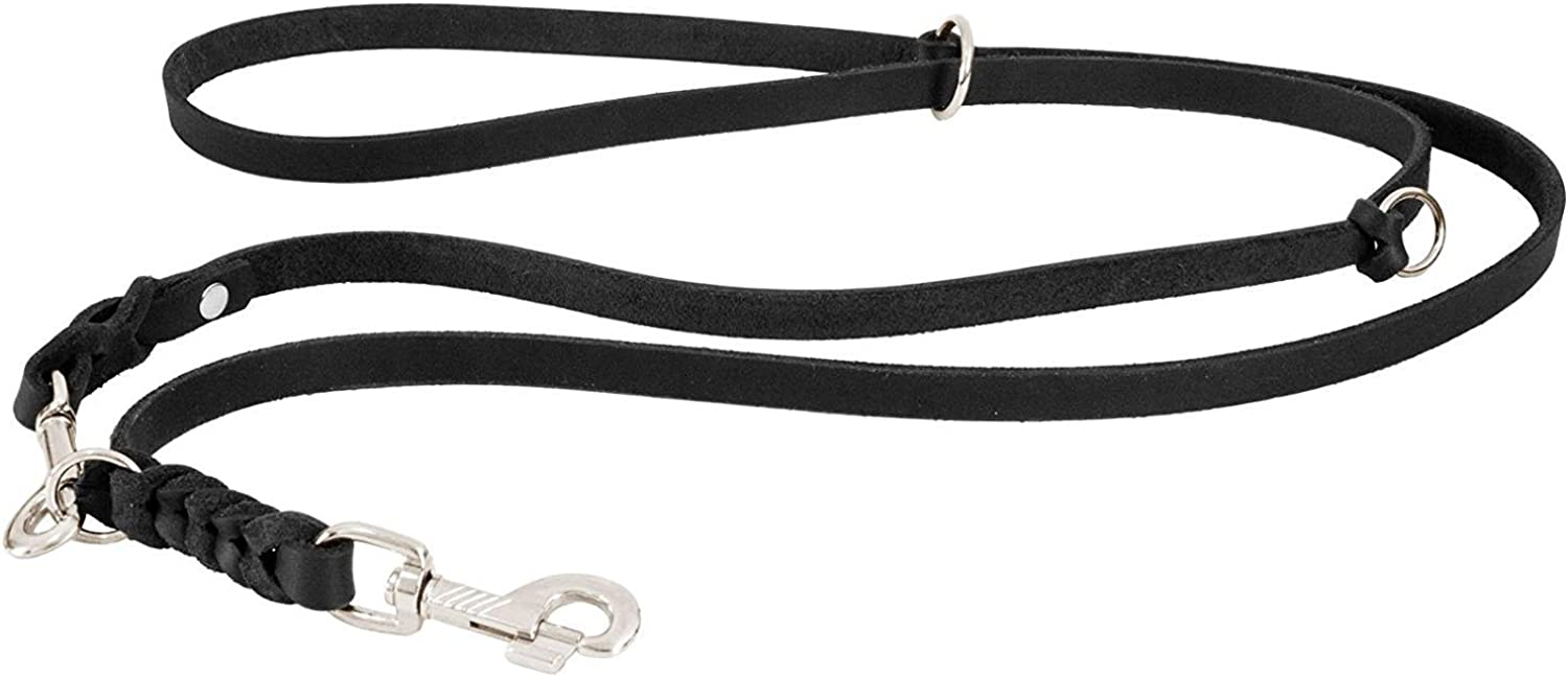 CopcoPet Grease Leather Adjustable Dog Lead with Chrome Carabiner Braided Leather Dog Lead for Dogs