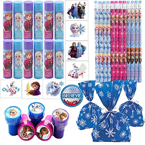 Frozen 2 Birthday Party Favors and Goodie Bag Fillers For 12 Guests With Frozen 2 Chapstick, Tattoos, Pencils, Stampers, Snowflake Goodie Bags, and Frozen Inspired Believe Pin