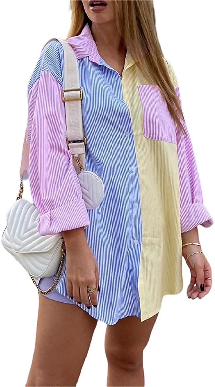 JYYYBF Women Striped Shirt Oversized Button Up Long Sleeve Tops Color Block Blouse for Casual Party Y2K Streetwear