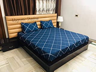 Magnetic Shadow King Size Bed Cover Elastic Fitted Bedsheet with 2 Pillow Covers (240 X 260 cms, Checkered Blue)