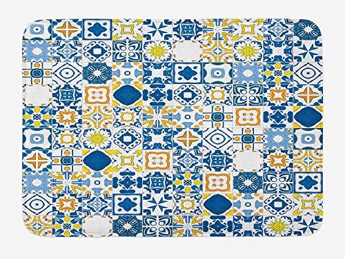 Casepillows Geel en Blauw Badmat, Mozaïek Portugees Azulejo Mediterraans Arabisch Effect, Pluche Badkamer Decor Mat met Non Slip Backing, 23,6 x 15,7 Inch, Violet Blauw Mosterd Wit