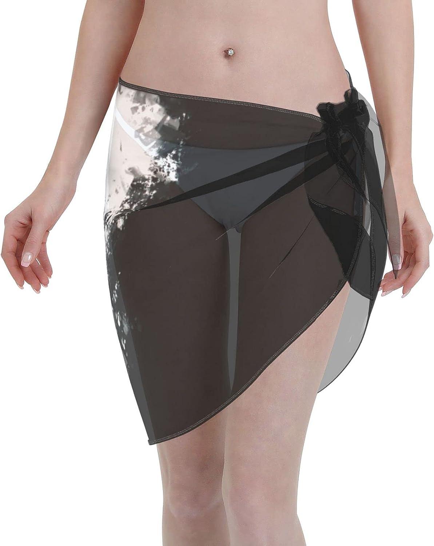 ArtPresarron Anime Tokyo Ghoul Women Short Sarongs Beach Wrap Sheer Bikini Wraps Chiffon Cover Ups for Swimwear (5519in) Black