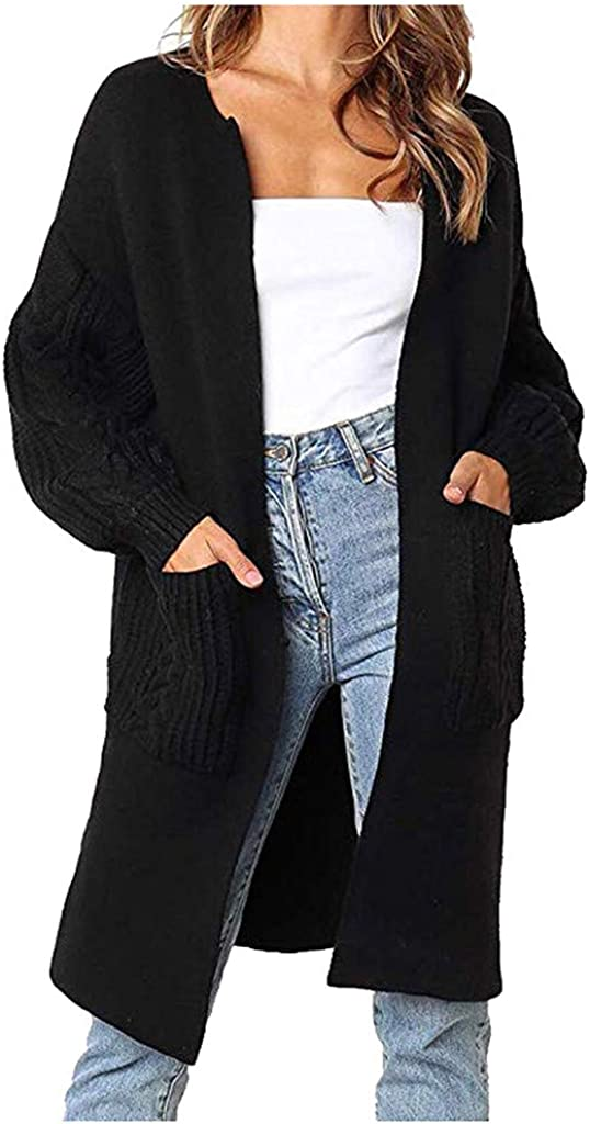 Women's Cardigan Fashion Solid Color Lantern Sleeve Open Front Long Sleeves Knitted Sweater Outerwear Coat
