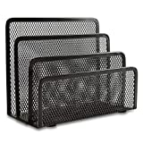 Desk Mail Organizer, Easepres Office Small Letter Sorter Desktop File Organizer Metal Mesh with 3 Vertical Upright Compartments, 1 Pack