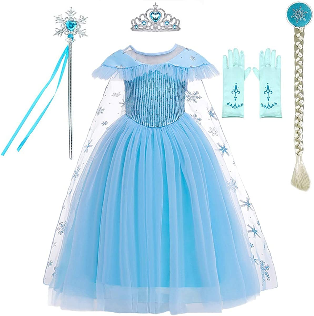Kids Girls Costume Elsa Princess Fancy Dress Up Cosplay Party Christmas gift