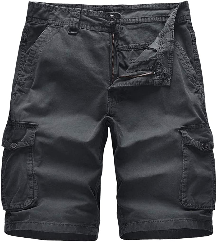 DIOMOR Plus Size Comfy Solid Color 9 Inch Inseam Cargo Shorts for Men Casual Outdoor Knee Length Pants Hiking Trunks