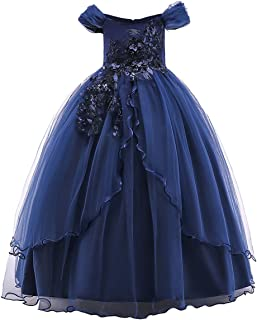 Flower Girl Off Shoulder Embroidery Lace Wedding Formal Dress for Kids Princess Pageant Birthday Party Dance Maxi Gown