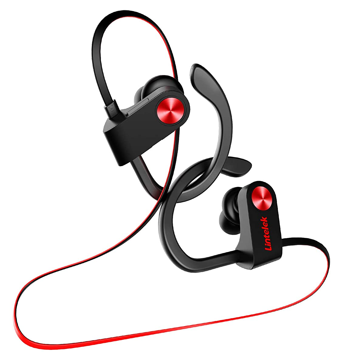 Lintelek Wireless Headphones Sport Earphones Stereo Sound Deep Bass Noise Canceling Secure Fit Lightweight in-Ear Headset IPX7 Waterproof 9Hr Battery Standby with Built-in Mic for Running Gym