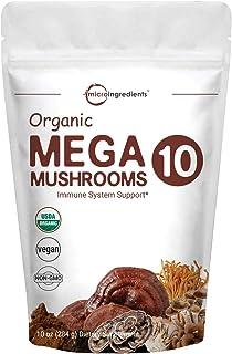 Sustainably US Grown, Organic Mega 10 Mushroom Complex Powder for Immune System Booster, 10 Ounce (284 Grams), Chaga Mushr...