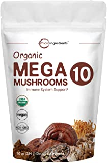 Sustainably US Grown, Organic Mega 10 Mushroom Extract Powder, 10 Ounce (284g), Lion's Mane, Chaga, Turkey Tail, Cordyceps, Shiitake, Maitake, Reishi Mushroom and More, No GMOs & Vegan Friendly