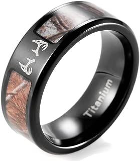 SHARDON Men's 8mm IP Black Titanium Tree Camo Ring with Engraved Deer Antler