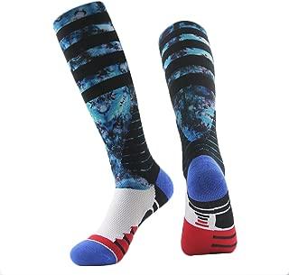 J'colour colorful Knee High Socks,  Unisex Cushioned Digital Print Basketball Football Athletic Socks