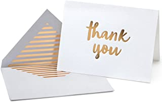Luxury Gold Foil Letterpress Thank You Cards and Gray Envelopes 20 Pack - Opie's Paper Company (Gold)
