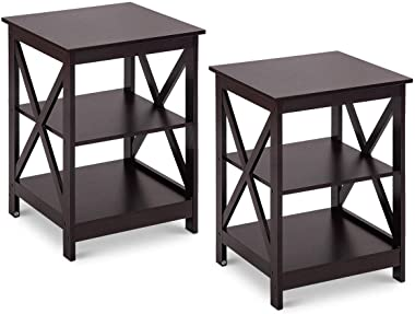 Giantex Nightstand 3-Tier X-Design W/Storage Shelves and Stable Structure Storage Organizer Display Sofa Side Table for Livin