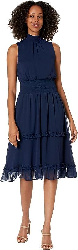 Smock Neck Midi Dress