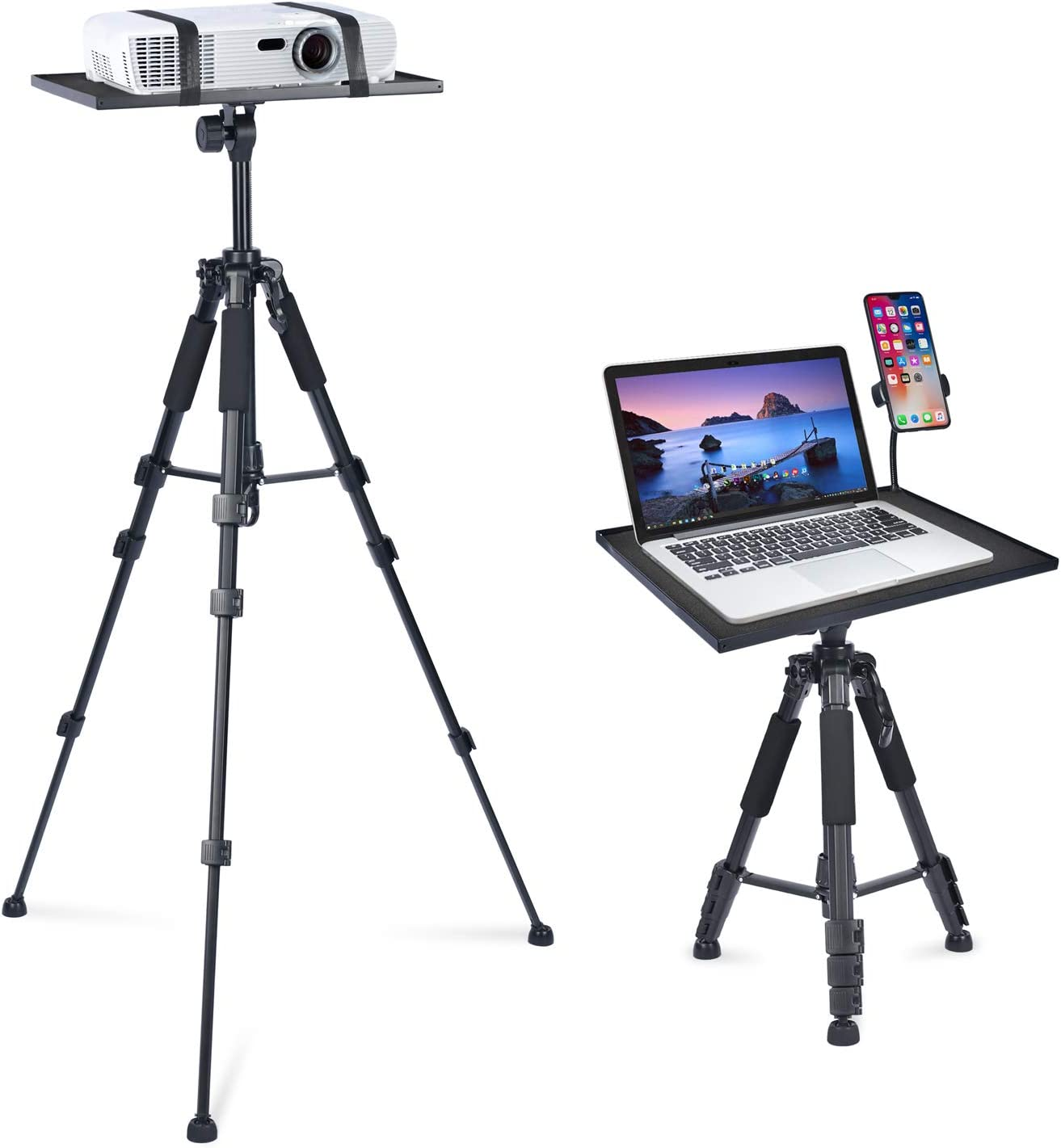 Projector Tripod Stand, Facilife Laptop Floor Stand, Projector Stand Adjustable Tall from 17.6 to 51.4 Inches, Laptop Tripod Stand for Projector, Laptop, DJ, Tablet