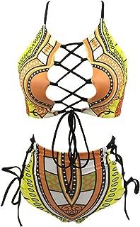 Women African Backless Bikini High Waist Tankini Patterned Strap Swimsuit Set