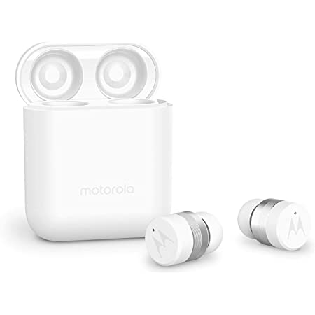 Motorola Vervebuds 110 True Wireless Compact Headphones IPX4 Water-Resistant, Up to 12H Playtime, Touch Control On Both Buds, Compatible with Alexa - White