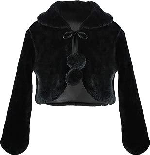 Girls Faux Fur Dress Coat Flower Girl Bolero Jacket Princess Cape Winter 2-13